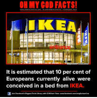 Ikea, Memes, and Cent: www.omg facts online.com I fb.com  omg facts online I ooh my god facts  IKEA  Oge Source-VouTube.Com  It is estimated that 10 per cent of  Europeans currently alive were  conceived in a bed from IKEA.  Of Join Facebook's Biggest Facts Library with 6 Million+ Fans- www.facebook.com/omgfactsonline