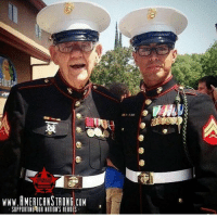 Memes, Heroes, and Marines: WWW.RMERICANSTRONG.COM  SUPPORTING R NATION'S HEROES Two Marines, 60 years apart. One fought during WWII and one in the Middle East, both warriors. Oorah! 🇺🇸 https://t.co/ratQlDUY9o