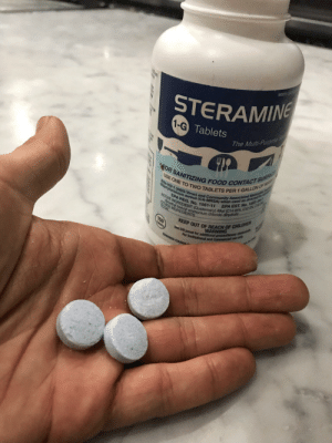 Forbidden sweet tarts: Www.s  STERAMING  1-G Tablets  The Multi-PurpsE  OR SANITIZING FOOD COTACT SURFAC  USE ONE TO TWO TABLETS PER 1 GALLON OF W  Kill HIV-1 (AIDS Virus) and Community Associated Methic  Staphylococcus aureus (CA-MRSA) when used as directed or  ATE  EPA EST. No. 1561-A  HEE Y benzyl ammonium chloride dihydrate.  EPA REG No. 1561-11  ACTIVE INGREDENT: (Quaternary) Alkyl (C14 95% C12%  INGREDIENTS  TOTAL  KEEP OUT OF REACH OF CHILDREN  WARNING  See left panel for additional precautionary stut  For Institutional and Commercal  150  ADS COUNC Forbidden sweet tarts
