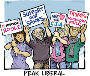 Tumblr, Blog, and Cartoons: www.sinkers.org  SUPPORT  OUR  WEC Moscow  TRUMP-  THE  MuLe  KOOLZ SPOOKS  PEAK LIBERAL c-bassmeow:  One of my favorite political cartoons. Just because Trump criticizes something doesn't mean the thing he is criticizing is all good or deserving of NO criticism. Our corporate media and corrupt intelligence agencies should not be propped up as benevolent martyrs just because Trump attack's them.