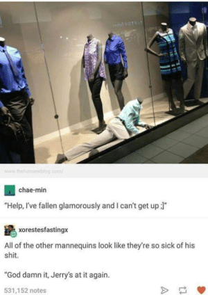 """God, Shit, and Help: www.thefunniestblog.com  chae-min  """"Help, I've fallen glamorously and I can't get up ]""""  xorestesfastingx  All of the other mannequins look like they're so sick of his  shit  """"God damn it, Jerry's at it again.  531,152 notes jerry"""