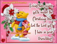 The Best Christmas Gift Is Your Precious Friendship!: www.truthfollower com  may have many  under the  Christmas tree  but the best gift  I have is your  toto truthfollower com  iendship! The Best Christmas Gift Is Your Precious Friendship!