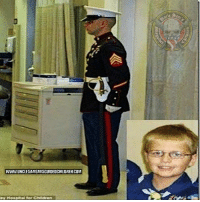 "Blessed, Memes, and Parents: WWW.UNCLESAMSMISGUIDEDCHILDREN COM Date: Sun, 7 Feb 2012 10:36:27 - 0500 A Marine stands guard while a brave young child dies. ""Every now and then, in the middle of the constant barrage of crap that's just pissing us all off these days, we come across a story, a feat, an event that just makes us stop in our tracks. This was one for me. ""Cody Green was a 12-year kid in Indiana who was diagnosed with leukemia at 22 months old. He loved the Marines, and his parents said he drew strength and courage from the Marine Corps as ... he bravely fought the battle into remission three times. Although he was cancer-free at the time, the chemotherapy had lowered his immune system and he developed a fungus infection that attacked his brain. Two weeks ago, as he struggled to fend off that infection in the hospital, the Marines wanted to show how much they respected his will to live, his strength, honor and courage. They presented Cody with Marine navigator wings and named him an honorary member of the United States Marine Corps. ""For one Marine, that wasn't enough ... so that night, before Cody Green passed away, he took it upon himself to stand guard at Cody's hospital door all night long, 8 hours straight. ""Nowhere on the face of this planet is there a country so blessed as we to have men and women such as this."