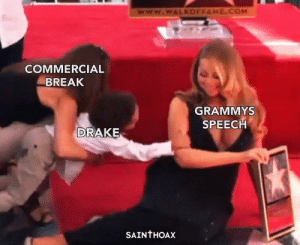 The Grammys summed up: www.wWALKOFFAME.COM  COMMERCIAL  BREAK  GRAMMYS  SPEECH  DRAKE  SAINTHOAX The Grammys summed up