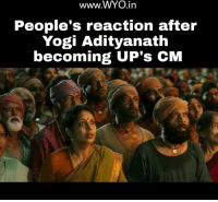 Memes, 🤖, and Yogi: www.WYO .in  People's reaction after  Yogi Adityanath  becoming UP's CM