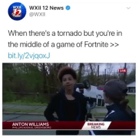 News, Avenue, and Breaking News: WXII 12 News  @W/Xll  XII  When there's a tornado but you're in  the middle of a game of Fortnite >>  bit.ly/2vjgoxJ  ANTON WILLIAMS  PHILLIPS AVENUE, GREENSBORO  BREAKING  NEWS What's going on In the back