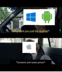 Apple, Memes, and Http: Wy eant you just be normal?  *Screams and raises prices* BTW I'm a apple fan via /r/memes http://bit.ly/2U9nbZa