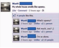 Memes, Smell, and House: Wyatt  My whole house smells like upsexy.  Like Comment 3 hours ago  4 people like this.  Wyatt  what's upsey?  3 hours ago Unlike 1 person  Wyatt Not much, you?  3 hours ago Unlike 1 person  Wyatt  I'm so alone.  3 hours ago Unlike 15 people