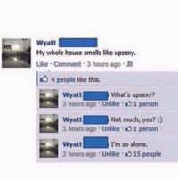 Being Alone, Memes, and House: Wyatt  My whole house smells like upsexy.  uke . Comment . 3 hours ago  4 people like this.  What's upsexy?  Wyatt  3 hours ago . Unlike  person  Not much, you? )  Wyatt  3 hours ago . Unlike-ol person  I'm so alone.  Wyatt  3 hours ago . Unlike·015 people Poor guy