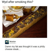 Ass, Fat Ass, and Smoking: Wyd after smoking this?  Mckellan  @McKellan  Damn my fat ass thought it was a philly  cheese steak.. Well damn! 😳😂🤷‍♂️ https://t.co/nZ4YVseT3s