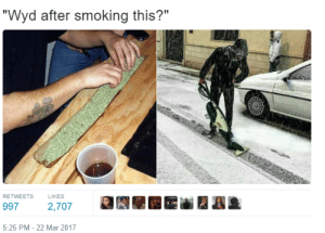 """Snow day: """"Wyd after smoking this?""""  RETWEETS  LIKES  997 2,707  5:25 PM -22 Mar 2017 Snow day"""