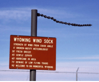 Fresh, Hurricane, and Wyoming: WYOMING WIND SOCK  STRENGTH OF WIND FROM CHAIN ANGLE  0 BROKEN-NOTIFY METEOROLOGIST  30 FRESH BREEZE  45 GENTLE ZEPHYR  60 HURRICANE IN AREA  75 BEWARE OF LOW FLYING TRAINS  90 WELCOME TO BIG WONDERFUL WYOMING <p>The Wyoming Wind Sock.</p>