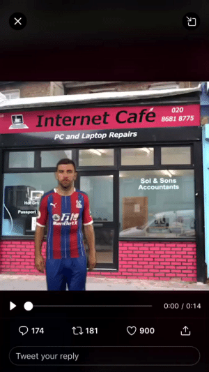 Crystal Palace have won the award for the worst transfer announcement video of all time.  It was so bad they even deleted it. But it was too late. 😂😂 https://t.co/N5RV0UK6H2: X  020  Internet Cafe  8681 8775  PC and Laptop Repairs  Sol &Sons  Accountants  Hot Dr  Passport  万博  MariBetX  0:00 0:14  174  ti 181  900  Tweet your reply Crystal Palace have won the award for the worst transfer announcement video of all time.  It was so bad they even deleted it. But it was too late. 😂😂 https://t.co/N5RV0UK6H2