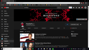 Amazon, Best Buy, and Community: X  (1) PewDiePie - YouTube  OK  https://www.youtube.com/user/PewDiePie  69  tMinecraft Redstone...  List of Automatic Fa...  Apps  Youtube  Amazon  Reddit  Twitter  Razer  Best Buy  Gmail  Spotify  MInecraft  Newegg  OK  YouTube  pewdiepie  ib  Home  Trending  THE PEWD I E P I E  MILESTONE  Subscriptions  COLLECTION  Get me to 17 mil thank  Library  History  PewDiePie  Watch later  JOIN  SUBSCRIBED 100M  100,000,000 subscribers  Liked videos  HbCHANNELYTICS  PLAYLISTS  COMMUNITY  HOME  VIDEOS  CHANNELS  ABOUT  Cool Miis  Show more  PEOPLE  Uploads  PLAY ALL  Looking at my Analytics  3.1M views 14 hours ago  DoubleMoose  SUBSCRIPTIONS  SUBSCRIBE  CaseyNeistat  (  u&)  Google trends not epic Suppert the chan get merch: https://represent.com/pewdiepie  Submit M E M ES: https://www.reddit.com/r/PewdiepieSubmissions/  $100000000  TSUKI: https://tsuki-co-  MrBeast  12:59  PewDiePie  Reacting to Keanu Reeves Memes  Daily Dose Of I...  5.3M views :1 day ago  JAMARI  Epic keanu reeves memes Get my turtleneck and check out NEW Tsuki Basics: https://tsuki.market/  (uu) Submit M E M E S:  Suppert the chan get merch : https://represent.com/pewdiepie  12:53 AM  Type here to search  6/16/2019  .. omg guys we did it(totally real)