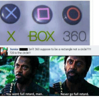 Retarded Man: X BOX 360  Junior  Isn't 360 suppose to be a rectangle not a circle??!!  720 is the circle  You went full retard, man.  Never go full retard.