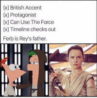 No questions asked😂💯 Admin: Finn, SWHub: [x] British Accent  Protagonist  Can Use The Force  [x] Timeline checks out  Ferb is Rey's father. No questions asked😂💯 Admin: Finn, SWHub