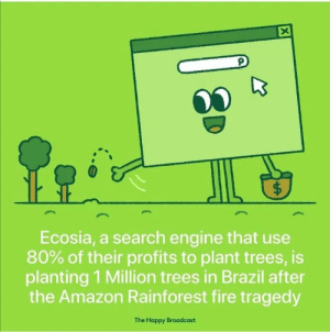 This restore my hope in humanity via /r/wholesomememes https://ift.tt/2L5uK0h: X  $  Ecosia, a search engine that use  80% of their profits to plant trees, is  planting 1 Million trees in Brazil after  the Amazon Rainforest fire tragedy  The Happy Broadcast  ( This restore my hope in humanity via /r/wholesomememes https://ift.tt/2L5uK0h