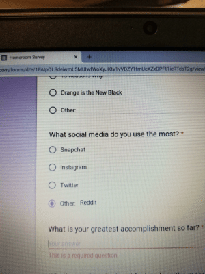 Instagram, Reddit, and School: X  Homeroom Survey  Com/forms/d/e/1FAlpQLSdeiwmL 5MUlwfWoxyJKtv1vVDZY1tmUcXZxDPFtlieRTcbT2g/viewt  O Orange is the New Black  O 0ther:  What social media do you use the most?  OSnapchat  O Instagram  O Twitter  O Other: Reddit  What is your greatest accomplishment so far? *  our answer  This is a required question My school is inferior.