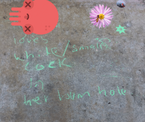 School, Flower, and Fuck: X  ioves  X What the fuck is going down in front of my school? (Octopus and flower are covering names)