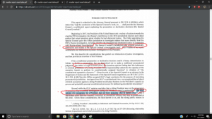 """7/11, cnn.com, and Facts: X  mueller-report-searchable.pdf  mueller-report-searchable.pdf  mueller-report-searchable.pdf  https://cdn.cnn.com/cnn/2019/images/04/18/mueller-report-searchable.pdf  torney wer Product viay ContunFMateriar Preteetee Chdierred. K. Crim.T,Ore  INTRODUCTION TO VOLUME II  This report is submitted to the Attorney General pursuant to 28 C.F.R. 600.8(c), which  states that, """"alt the conclusion of the Special Counsel's work, he. .. shall provide the Attorney  General a confidential report explaining the prosecution or declination decisions [the Special  Counsel] reached.""""  Beginning in 2017, the President of the United States took a variety of actions towards the  ongoing FBI investigation into Russia's interference in the 2016 presidential election and related  matters that raised questions about whether he had obstructed justice. The Order appointing the  Special Counsel gave this Office jurisdiction to investigate matters that arose directly from the  FBI's Russia investigation, including whether the President had obstructed justice in connection  with Russia-related investigations The Special Counsel's jurisdiction also covered potentially  obstructive acts related to the Special Counsel's investigation itself. his Volume of our report  summarizes our obstruction-ol-justice invesugation of the President.  1  We first describe the considerations that guided our obstruction-of-justice investigation,  and then provide an overview of this Volume:  First, a traditional prosecution or declination decision entails a binary determination to  initiate or decline a prosecution, but we determined not to make a traditional prosecutorial  judgment The Office of Legal Counsel (OLC) his issued an opinion finding that """"the indictment  or criminal prosecurion of a siting President would impermissibly undermine the capacity of the  executive branch to perform its constitutionally assigned functions"""" in violation of """"the  constitutional separation of powers."""" """
