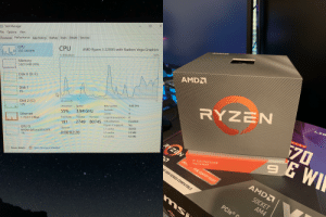 Cache, History, and Nvidia: X  Task Manager  File Options View  AMD Ryzen 3 2200G with Radeon Vega Graphics  100%  Processes Performance App history Startup Users Details Services  CPU  CPU  55% 3.94 GHz  9% Utilization  Memory  3.8/31.9 GB (12%)  AMD  Disk 0 (D: F:)  0%  Disk 1  0%  RY  ZEN  4.00 GHz  Base speed:  Sockets:  Cores:  Logical processors:  60 seconds  Speed  3.94 GHz  Disk 2 (C)  Utilization  4  12%  LIG  55%  4  Handles  Disabled  Threads  80745 Virtualization:  Hyper-V support:  Ethernet  S: 72.0 R: 0 Kbps  Processes  Yes  2749  191  OARD  $70  384 KB  L1 cache  2.0 MB  Up time  L2 cache:  GPU 0  4.0 MB  0:00:02:20  L3 cache  NVIDIA GeForce RTX 2070  RYZEN  1%  27  3RD GEN PROCESSOR  AMD  Open Resource Monitor  PCle 4.0 READY  Fewer details  300 DESKTOP READY  D 3000 SERIES COMPATIBLE  AMD  SOCKET  AM4  PCle®  RANEN  AM  SU Finally my rtx 2070 can stop yelling daddy as it gets choked by a 2200g