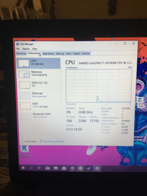 Bluetooth, Saw, and Windows: X  Task Manager  File Options View  Processes Performanpe App history Start-up Users Details Services  CPU  3% 0.86 GHz  CPU  Intel(R) Core(TM) i7-2670QM CPU @ 2.2..  100%  % Utilisation  Memory  2.6/3.9 GB (67% )  Disk 0 (C: D)  5%  Ethernet  Not connected  WiFi  S: 0 R: 32.0 Kbps  60 seconds  Utilisation  Base speed:  Speed  2.20 GHz  Sockets:  1  3%  0.86 GHz  Bluetooth PAN  Not connected  Cores:  Threads  Processes  Handles  Logical processors:  72793 Virtualisation:  Hyper-V support  L1 cache:  166  2266  Disabled  Yes  Up time  256 KB  0:12:14:29  L2 cache  1.0 MB  L3 cache:  6.0 MB  Open Resource Monitor  Fewer details  RI  PHOTO  Autodesk  ReCap Photo Some days before I reinstall my Windows. After that I check my drivers and saw that the drivers for my NVIDIA GeForce 540m are missing. At first in the task manager it showed me the CPU and GPU1. After i isntalled the drivers properly i saw that the GPU is missing in the task mager.