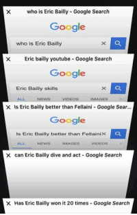 Be Like, Google, and News: X who is Eric Bailly Google Search  Google  who is Eric Bailly  X Eric bailly youtube Google Search  Google  Eric Bailly skills  ALL  VIDEOS  IMAGES  NEWS  X is Eric Bailly better than Fellaini Google Sear...  Google  is Eric Bailly better than Fellaini K C  NEWS  IMAGES  VIDEOS  X can Eric Bailly dive and act Google Search  X Has Eric Bailly won it 20 times Google Search Man United fans be like