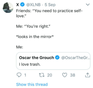 """Dank, Friends, and Love: x @XLNB 5 Sep  Friends: """"You need to practice self-  love.  Me: """"You're right.""""  치ooks in the mirror""""  Me:  Oscar the Grouch@OscarTheGr..  I love trash.  1  20  38  Show this thread me_irl by Cheesecakesimulator MORE MEMES"""