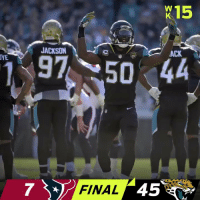 Memes, 🤖, and Jaguars: X15  JACKSON  ACK  YE  97 50-44  7 FINAL 45 FINAL: The @Jaguars improve to 10-4! #Jaguars  #HOUvsJAX https://t.co/JxGlmJ1sZ9