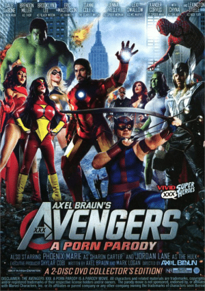 "Gangbang, Xxx, and Hulk: XANDER  DANN  COLE A  THE SCARLETWITCH  LEXI  JENNA  PRESLEY  PPOER WOMAN  AND LEXINGTON  STEELE  DALE  DABONE  RON MAN  BRENDON BROOKLYN  ERIC  WTH  CHYNA  EHIY  SWALLOW CORVLIS  LEE  MASTERSON  AS HANKEYE  MILLER  pEER MAN  AS KGMARVEL  AS NCK FURN  AS THOR  AS BLACK WOOW  VIVID SUPER  XXX.HEROES  AXEL BRAUN'S  AVENGERS  XXX  A PORN PARODY  ALSO STARRING PHOENIX MARIE AS SHARDN CARTER AND JORDAN LANE AS THE HULK  EXEBUTIVE PRODUCER SHYLAR COBI WRITTEN BY AXEL BRAUN AND MARK LOGAN DIRECTED BY AXeLBlauN  A 2-DISC DVD COLLECTOR'S EDITION! NRE  DISCLAIMER: THE AVENGERS XXX: A PORN PARODY IS A PARODY MOVIE. All characters and related materials are trademarks, copyrights  and/or registered trademarks of their respective license holders and/or owners. The parody movie is not sponsored, endorsed by, or aftiater  with Marvel Characters, Inc. or its affiliates or parent company or any other company owning the trademarks of characters seen therein  SHOT IN HGH-DEFINITION Best scene... When Black Widow yelled ""Assemble"" and the gangbang began."