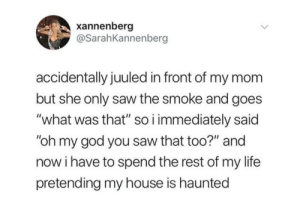 "God, Life, and My House: xannenberg  @SarahKannenberg  accidentally juuled in front of my mom  but she only saw the smoke and goes  ""what was that"" so i immediately said  ""oh my god you saw that too?"" and  now i have to spend the rest of my life  pretending my house is haunted whitepeopletwitter:  Vapebusters"