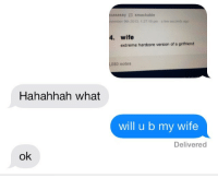 Target, Tumblr, and Blog: xasassy smackable  ovember 9th 2013, 1:27 19 pm a few seconds ago  4. wife  extreme hardcore version of a girlfriend  080 notes  Hahahhah what  will u b my wife  Delivered  ok dashdrive:  lms if u want a relationship like dis3333