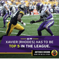 Game recognize game. #NFLTop100 https://t.co/C8HQXczAGe: XAVIER [RHODES] HAS TO BE  TOP 5 IN THE LEAGUE.  ANTONIO BROWN  VIA NFL TOP 100 ON NFL NETWORK Game recognize game. #NFLTop100 https://t.co/C8HQXczAGe