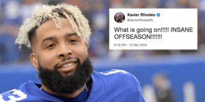 A move that sent shock waves through the NFL world.  Players react to the @obj trade: https://t.co/w8mCeqZnEf https://t.co/FVTLQhbERc: Xavier Rhodes  @XavierRhodes29  What is going on!!!! INSANE  8:18 PM-12 Mar 2019 A move that sent shock waves through the NFL world.  Players react to the @obj trade: https://t.co/w8mCeqZnEf https://t.co/FVTLQhbERc
