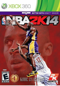 Memes, Nba, and Xbox: XBOX 360  BETTER WITH KINECT SENSOR  NBA  NTSC  EVERYONE  KOBH 24  KOBE 21  ESRB  SPORT The new cover for NBA2K14