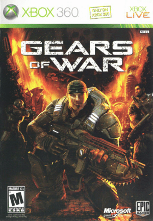 Family, Fire, and Microsoft: XBOX 360  XBOX  LIVE  ONLY ON  XBOX 360  NTSC  GEARS  WAR  OF  MATURE 17+  EPIC  CONTENT RATED BY  Microsoft  game studios  ESRB  GAMES  Game Experience May  Change During Online Play Just realized that the fire in the background is shaped like the wings of a phoenix (Marcus Fenix rising from the ashes, redeeming the family name).