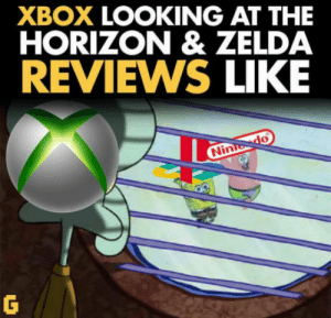 Club, Tumblr, and Xbox: XBOX LOOKING AT THE  HORIZON & ZELDA  REVIEWS LIKE laughoutloud-club:  I hope scalebound can make Xbox great again… Oh but wait XD