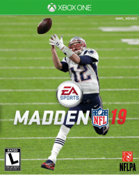 Football, Memes, and Nfl: XBOX ONE  @NFL_MEMES  ZA  SPORTS  .MADDENE,-  RATED  NFLPA  FOR PATRIOTS  IN SUPER BOWL LII Still think this would have been a better cover for Madden 19 but ok... https://t.co/rXZN6lvBaq