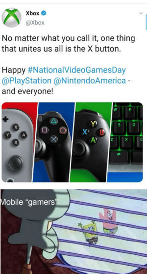 "Meme, PlayStation, and Tumblr: Xbox  @Xbox  No matter what you call it, one thing  that unites us all is the X button  Happy#NationalVideoGamesDay  @PlayStation @NintendoAmerica -  and everyone!  X  S  Х В  A)  Y  A  alt  Mobile ""gamers  N meme-me-in-the-pit: um mobile gamers use the X button a lot actually"