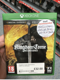 Xbox One, Xbox, and Silver: XBOXONE  Including the T  the Past  Staff  recommended  SPECIAL EDITION  here up thou-  2po st a has  KingdomTome  Deliverance  Kingdom Come Deliverance  (Xbox One Software)  18  £32.00  nd Hand)  www.pegi into  EEP  SILVER  Ryan P Sold. https://t.co/7i265Q2wiE