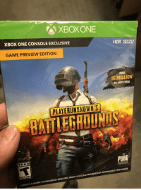 Is this what gaming has come to? Unfinished games hitting retail shelves now? https://t.co/2J5Bu60TV5: XBOXONE  XBOX ONE CONSOLE EXCLUSIVE  HDR EROKOE  GAME PREVIEW EDITION  OVER  I6 MILLION  PC UNITS SOLD  PLAYERUNKNOWN'S  BATTLEGROUNDS  PUBG  TEEN  GAME IS A WORK IN PROGRESS/REQUIRES XBOX LIVE GOLD MEMBERSHIP/ DOWNLOAD CARD INSIDE Is this what gaming has come to? Unfinished games hitting retail shelves now? https://t.co/2J5Bu60TV5
