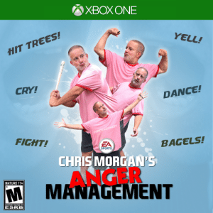 Sports, Trees, and Content: XBOXONE  YELL!  HIT TREES!  CRY!  DANCE!  @SPETTACOMEDY  FIGHT!  EA  SPORTS  BAGELS!  CHRISMORGAN'S  ANGER  MANAGEMENT  MATURE 17+  CONTENT RATED BY  ESRB