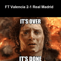Real Madrid's winning streak is officially over, barca fans right now... LaLiga: FT Valencia 2-1 Real Madrid  ITS OVER  IT'S DONE Real Madrid's winning streak is officially over, barca fans right now... LaLiga