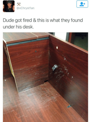 Dude, Desk, and Got: @xChryst1an  Dude got fired & this is what they found  under his desk