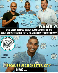 Guess it...🤔: XEN TIRE  er  EXEN TIRE  ETIHAD  DSN  EN  NEXEN  TIR  ETIHAD  AIRWAYS  UMMER SIGNINGS 2017/18  DID YOU KNOW THAT DANILO SINCE HE  HAS JOINED MAN CITY FANS DIDN'T BOO HIM?  S JUST  EN TIRE  AIRWAYS  NDGN  NEXEN TIRE  AD  Y S  CHES  Dhab  CAUSE MANCHESTER CITY  HAS Guess it...🤔