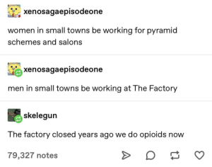 We doin opioids now lads: xenosagaepisodeone  women in small towns be working for pyramid  schemes and salons  xenosagaepisodeone  men in small towns be working at The Factory  skelegun  The factory closed years ago we do opioids now  O  79,327 notes We doin opioids now lads