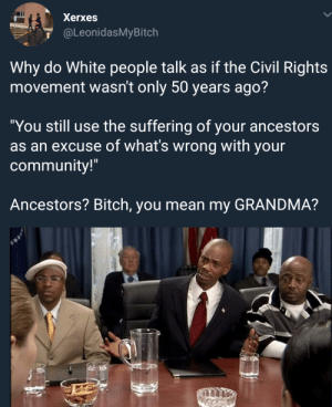 "Bitch, Community, and Grandma: Xerxes  @LeonidasMyBitch  Why do White people talk as if the Civil Rights  movement wasn't only 50 years ago?  ""You still use the suffering of your ancestors  as an excuse of what's wrong with your  community!""  Ancestors? Bitch, you mean my GRANDMA? Y'all keep doing the same shit"
