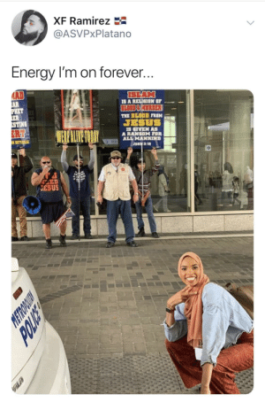 Blackpeopletwitter, Energy, and Jesus: XF Ramirez  @ASVPxPlatano  Energy I'm on forever  AD  ISLAM  IS A RELIGION OF  THE BLOOD FROM  JESUS  IS GIVEN AS  A RANSOM FOR  ALL MANKIND  STING  ESUS Praises due to the most high, Allah (via /r/BlackPeopleTwitter)