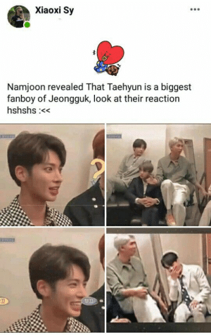 : Xiaoxi Sy  Namjoon revealed That Taehyun is a biggest  fanboy of Jeongguk, look at their reaction  hshshs