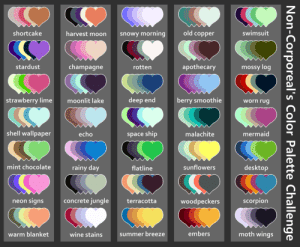 xiss0r:  Made my own color palette challenge!Send me(or the person who rbs this) a character(or characters) and a palette!: xiss0r:  Made my own color palette challenge!Send me(or the person who rbs this) a character(or characters) and a palette!